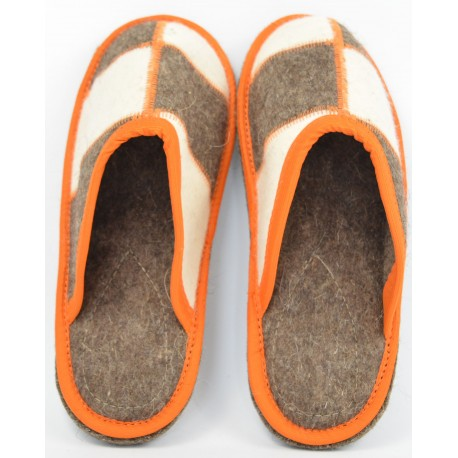 "Walenki ""Filzpantoffel - Filzlaufsohle"" Hausschuhe Gr. 36 - 46 Orange"